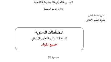 صورة المخططات السنوية للسنة الثانية إبتدائي – الجيل الثاني 2020 – 2021 ( جميع المواد)
